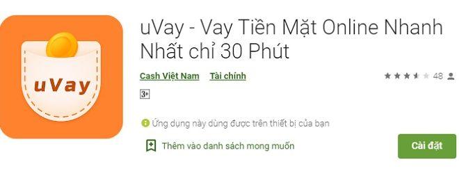 Uvay vay tiền mặt online trong 30 phút
